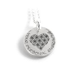 Anhänger Blume des Lebens Herz Form und Kette aus 925 Silber mit individueller Gravur PS330 KE2