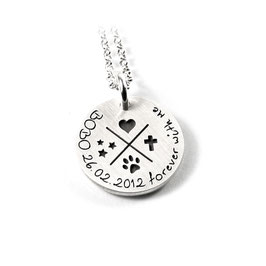 Anhänger Sterne | Knochen | Pfote | Kreuz Symbol aus 925 Silber Namenskette mit individueller Gravur PS166 KE2