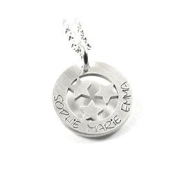 Anhänger und Kette aus 925 Silber Namenskette mit individueller Gravur Stern Sternchen Sterne Symbol PS198 KE2