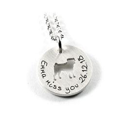 Anhänger Wunsch Hunderasse aus 925 Silber mit individueller Gravur PSDOG AC KE2