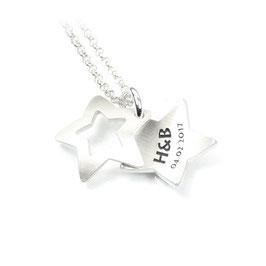 Anhänger zweiteiliges Medaillon Sternchen aus 925 Silber mit individueller Gravur PSD 14 KE2
