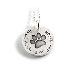 Anhänger Symbol Hundepfote | Pfote und Kette aus 925 Silber Namenskette mit individueller Gravur PS344 KE2
