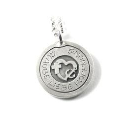 Runder Anhänger mit Ihrer Gravur mittig mit Kreuz Herz Anker Symbol aus 925 Silber  PS134 KE2
