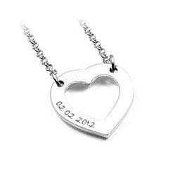 Herz Anhänger und Kette aus 925 Silber Namenskette mit individueller Gravur PS38 KE2
