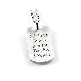 Anhänger Dogtag Erkennungsmarke und Kette aus 925 Silber Namenskette mit individueller Gravur PS177 KE2