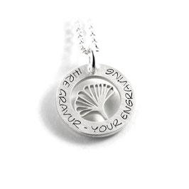 Anhänger Ginkgoblatt Ginkgo Symbol Hoffnung und Freundschaft + Kette aus 925 Silber mit individueller Gravur PS487 KE2
