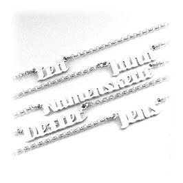 Wunschname Namenskette - Anhänger und Kette aus 925 er Silber (PNE6) 45cm KE5