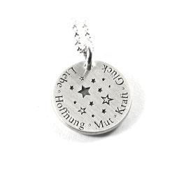 Runder Anhänger mittig mit Stern Sterne Sternchen Symbolen und Ihrer Gravur aus 925 Silber  PS252 KE2
