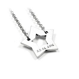 Stern Anhänger und Kette aus 925 Silber Namenskette mit individueller Gravur PS39 KE2