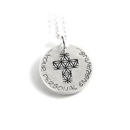 Anhänger Blume des Lebens Kreuz Form und Kette aus 925 Silber mit individueller Gravur PS209 KE2