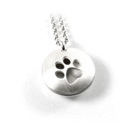 Anhänger zweiteiliges Medaillon Hundepfote aus 925 Silber mit individueller Gravur PSD 24 KE2