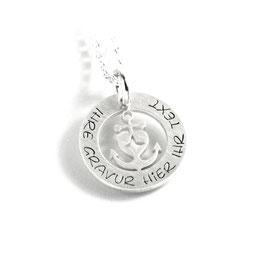 Anhänger Glaube Liebe Hoffnung Herzanker und Kette aus 925 Silber mit individueller Gravur PS496 KE2