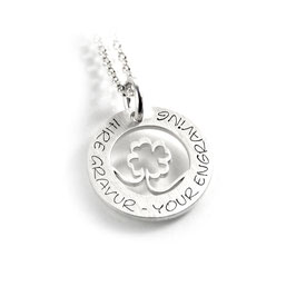 Anhänger vierblättriges Kleeblatt Glücksbringer Glückssymbol und Kette aus 925 Silber mit individueller Gravur PS486 KE2