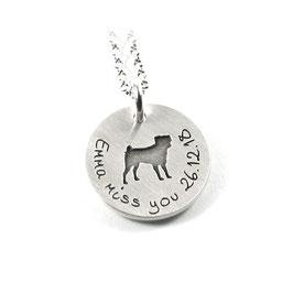 Anhänger Wunsch Hunderasse aus 925 Silber mit individueller Gravur PSDOG AG KE2