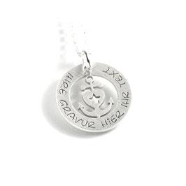 Anhänger Glaube Liebe Hoffnung Herzanker und Kette aus 925 Silber mit individueller Gravur PS497 KE2