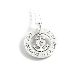 Anhänger Glaube Liebe Hoffnung Herzanker und Kette aus 925 Silber mit individueller Gravur PS498 KE2