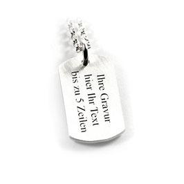 Anhänger Dogtag Erkennungsmarke und Kette aus 925 Silber Namenskette mit individueller Gravur PS176 KE2