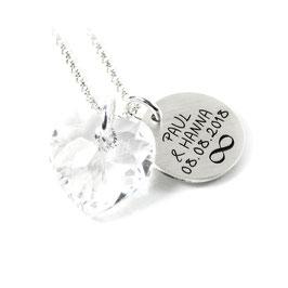 Anhänger, Kette aus 925 Silber | großer Herzanhänger aus Swarovski® Kristallen | mit individueller Gravur PS1 SWA1 KE2