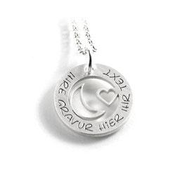 Anhänger Herz Mond und Kette aus 925 Silber Namenskette mit individueller Gravur PS432 KE2