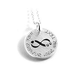 Anhänger Symbol Hundepfote | Pfote Herz infinity unendlich Zeichen und Kette aus 925 Silber mit individueller Gravur PS422 KE2