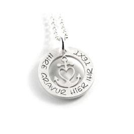Anhänger Glaube Liebe Hoffnung Herzanker und Kette aus 925 Silber mit individueller Gravur PS424 KE2