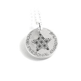 Anhänger Blume des Lebens Stern Form und Kette aus 925 Silber mit individueller Gravur PS328 KE2