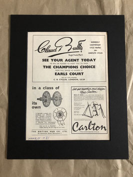 Original 1960s Claud Butler/Carlton Card Mounted Advertisement...