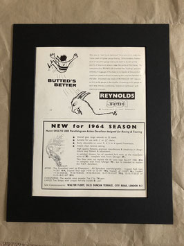 Original 1960s Card Mounted Reynolds/ Huret Svelto Printed Advertisements...