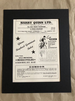 Original 1960s Card Mounted Harry Quinn/Condor Printed Advertisements...