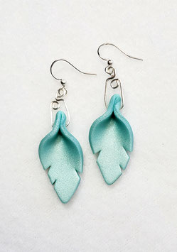 Teal Cut Leaf Polymer Clay Earrings