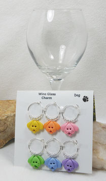 Dog Wine Glass Charm Set