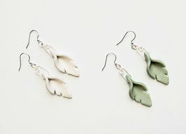 Moss Green or Pearl White Leaf Earrings Handcrafted Polymer Clay