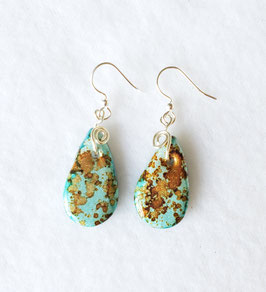 Blue and Bronze Painted Alcohol Ink Tear Drop Handcrafted Polymer Clay Earrings