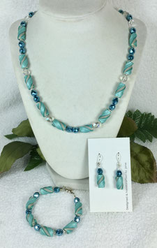 Teal and Pearl Twist Bead Necklace Set