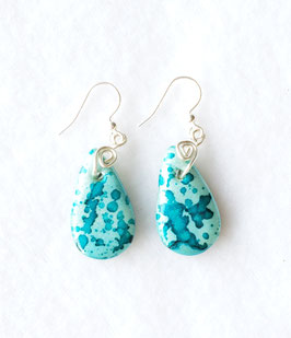Teal Painted Alcohol Ink Tear Drop Handcrafted Polymer Clay Earrings