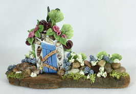 Blue Miniature Fairy Door Garden