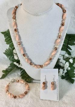 Peach Twist Bead Necklace Set