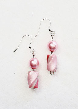 Two Shades of Pink Twisted Bead Earrings