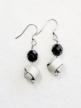 Black and White Strip Ball Bead Earrings
