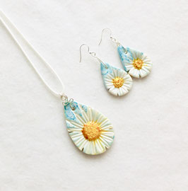 White and Yellow Daisy on a Blue Background Handcrafted Polymer Clay Pendant and Earrings