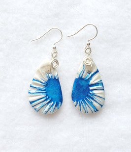 Blue and White Alcohol Inked Handcrafted Polymer Clay Earrings