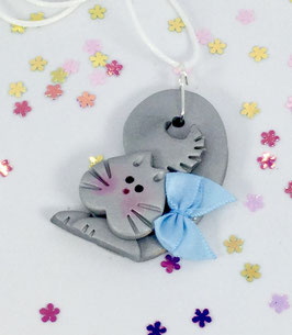 Adorable Handcrafted Polymer Clay Curly Silver Gray Cat Pendant with Adjustable Cord perfect as a Gift for your favorite Girl!
