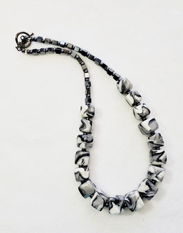 Black Silver and White Swirled Cube Bead Necklace