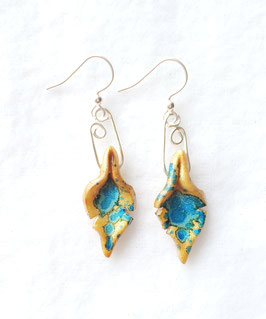 Tiny Gold and Blue Painted Alcohol Ink Leaf Handcrafted Polymer Clay Earrings