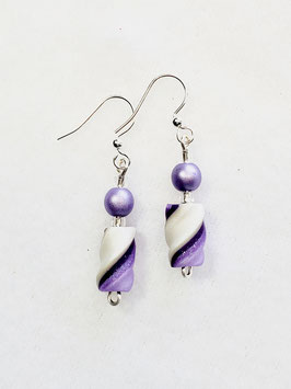 Two Shades of Purple and Pearl White Twisted Bead Earrings