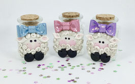 Cutie Lamb with Glittery Bow Heavy Clear Glass Jar