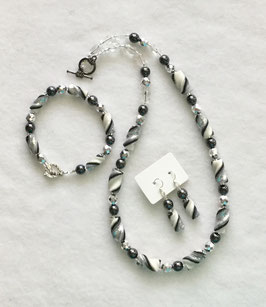 Shiny Silver Black Pearl White Twist Bead Necklace Set Handcrafted Polymer Clay!