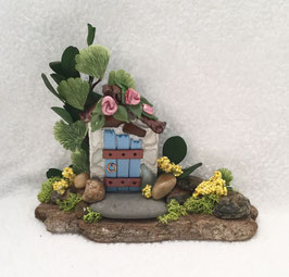 Blue & Beach Glass Miniature Fairy Door Garden