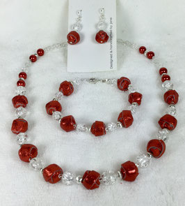 Glittery Red Strip Ball Necklace Set