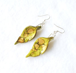 Green and Bronze Painted Alcohol Ink TLeaf Handcrafted Polymer Clay Earrings